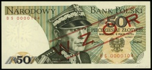 """50 złotych 9.05.1975, czerwone ukośne nadruki """"WZÓR"""" / ..."""