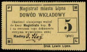 Lipno, Magistrat miasta, dowód wkładkowy na 5, 10, 20 i...