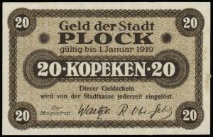 Płock- miasto, 20 i 50 kopiejek, ważne do 1.01.1919, Po...