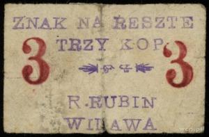 """Widawa, R. Rubin, znaki """"na resztę"""" 3, 10, 15 i 25 kopi..."""