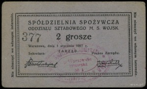Spółdzielnia Spożywcza Oddziału Sztabowego M. S. Wojsk....