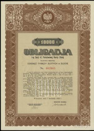Obligacja I-ej serii 4% Państwowej Renty Złotej na 10.0...
