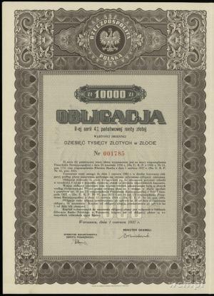 Obligacja II-ej serii 4 % państwowej renty złotej na 10...