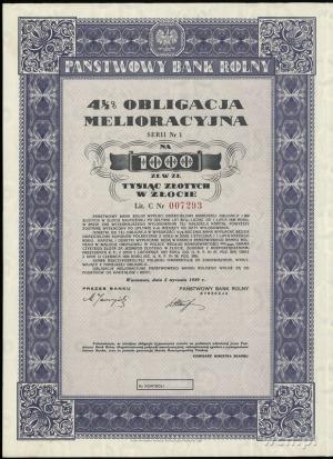 Państwowy Bank Rolny, 4 1/2 % obligacja melioracyjna na...