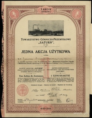 """Towarzystwo Górniczo-Przemysłowe """"Saturn"""" S.A., 1 akcja..."""