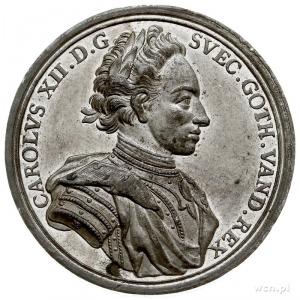 Karol XII, odbitka w cynie medalu sygnowanego MB (M Bru...