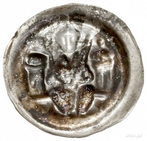 Otto Bogaty 1156-1190, brakteat; Margrabia w hełmie i p...