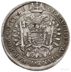 Leopold I 1657-1705, talar 1691 KB, Krzemnica, srebro 2...