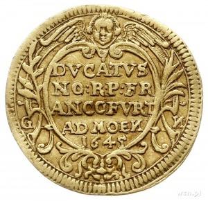 dukat (Engelsdukat) 1645, Aw: Orzeł na tarczy trzymanej...