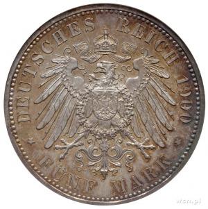 Wilhelm II 1888-1918, 5 marek 1900 A, Berlin, wybite st...