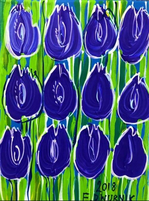 Edward Dwurnik (ur. 1943), Tulipany kobaltowe, 2018