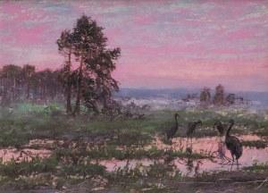 Andrzej Malinowski (1882 – 1932), Pejzaż z czaplami