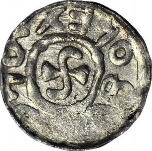 RRR-, Bolesław III Krzywousty 1107-1138, Wrocław, Denar Krzyż w formie swastyki