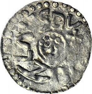 RR-, Bolesław III Krzywousty 1107-1138, denar wrocławski przed 1107, menniczy, nienotowana legenda, R8