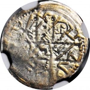 Bolesław I Wysoki 1163-1201, Denar ok. 1177-1201, Postacie/Krzyż, litery S-Σ, R2