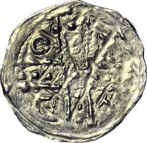 Bolesław I Wysoki 1163-1201 lub Mieszko Plątonogi 1163-1211, Denar, Wrocław, Dwie postacie, krzyż