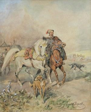 Kossak Juliusz, LUZAK W POCHODZIE WOJSKA, 1887
