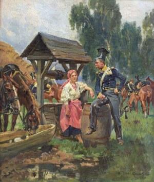 Kossak Wojciech,  PRZY STUDNI. UŁAN I DZIEWCZYNA, 1911