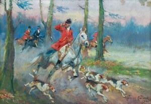 Jerzy KOSSAK (1886-1955), Polowanie par force, 1945