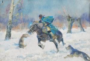 Jerzy KOSSAK (1886-1955), Napad wilków, 1950