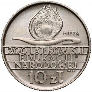 Próba MIEDZIONIKIEL 10 złotych 1973, 200 lat KEN - b.rzadka