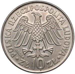 Próba MIEDZIONIKIEL 10 złotych 1964 Kazimierz Wielki - wklęsły - b. rzadka
