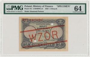 WZÓR 2 złote 1925 - perforacja - PMG 64