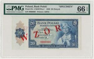 ABNCo 20 złotych 1939 - WZÓR 0000000 - PMG 66 EPQ