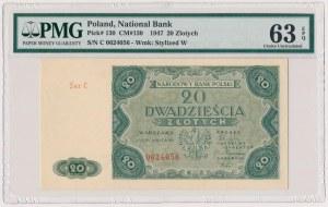 20 złotych 1947 - Ser.C - PMG 63 EPQ