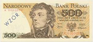 500 złotych 1974 - A 0000000 - WZÓR / SPECIMEN - bez numeru wzoru