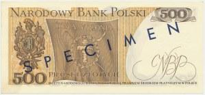 500 złotych 1974 - A 0000000 - nadruk SPECIMEN tylko na rewersie