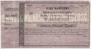 Powstanie Styczniowe, Obligacja tymczasowa 1.000 złotych 1863