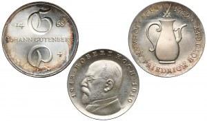 Niemcy, DDR, 5 i 10 marek 1968-1969, zestaw (3szt)