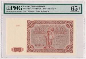 100 złotych 1947 - Ser.F - mała litera - PMG 65 EPQ