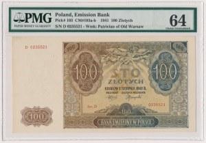 100 złotych 1941 - D - PMG 64