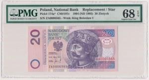 20 złotych 1994 - ZA 0006565 - seria zastępcza - PMG 68 EPQ