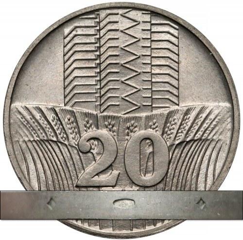 Próba TECHNOLOGICZNA 20 złotych 1973 Wieżowiec - OZDOBNY rant - rzadkość