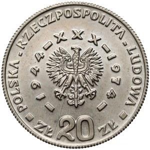 Próba MIEDZIONIKIEL 20 złotych 1974 Górnik... - bez monogramu - RZADKOŚĆ