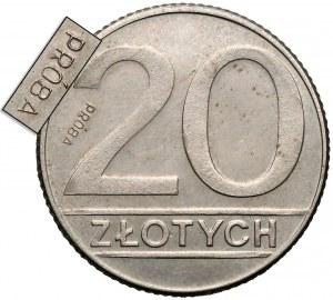 Próba MIEDZIONIKIEL 20 złotych 1989 - napis odwrotnie - b. rzadka