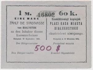 Białystok, 1 Mk = 60 kop 1915 - blankiet z adnotacją