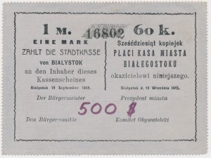 Białystok, 1 Mk = 60 kop 1915 - blankiet z dopiskiem 500$
