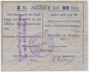Białystok, 3 Mk = 1 rub 80 kop 1915 - stempel tekstowy, nadruk filoletowy