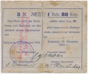 Białystok, 3 Mk = 1 rub 80 kop 1915 - stempel tekstowy, nadruk czerwony