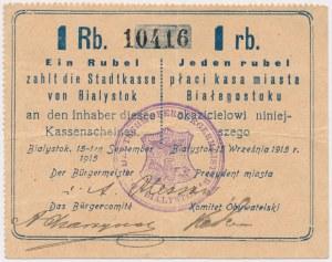 Białystok, 1 rubel 1915 - stempel DER DEUTSCHE...