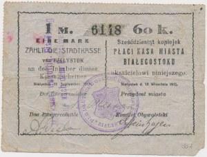 Białystok, 1 Mk = 60 kop 1915 - stempel z herbem