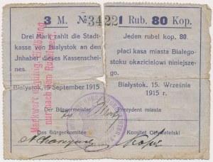 Białystok, 3 Mk = 1 rub 80 kop 1915 - stempel z herbem