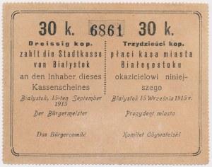 Białystok, 30 kopiejek 1915 - blankiet z wywabionym dopiskiem (5$)
