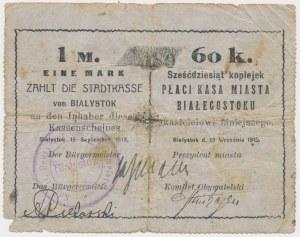 Białystok, 1 Mk = 60 kop 1915 - stempel tekstowy