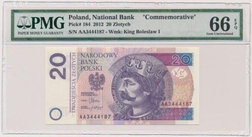 20 złotych 2012 - AA - PMG 66 EPQ