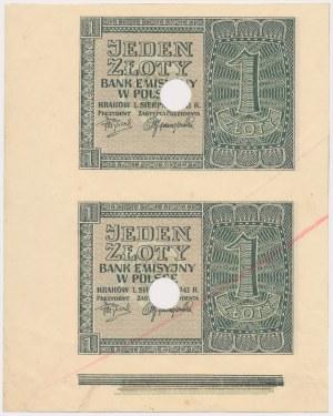 1 złoty 1941 - nierozcięte 2 sztuki - bez numeracji, skasowane